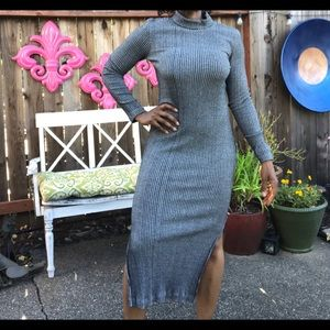 Gray Turtleneck Maxi Dress